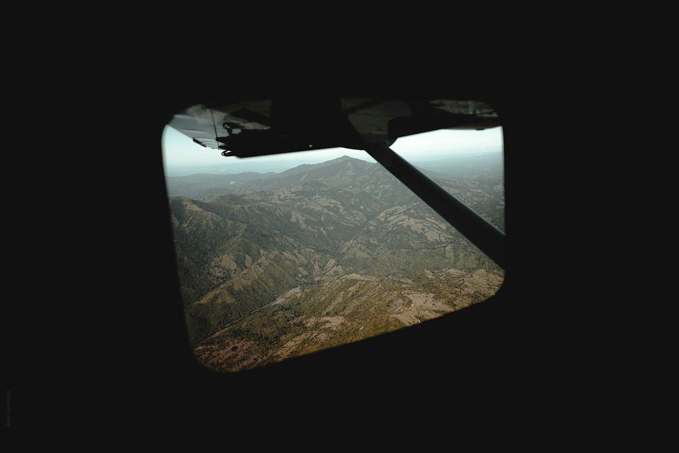 air plane window over costa rica