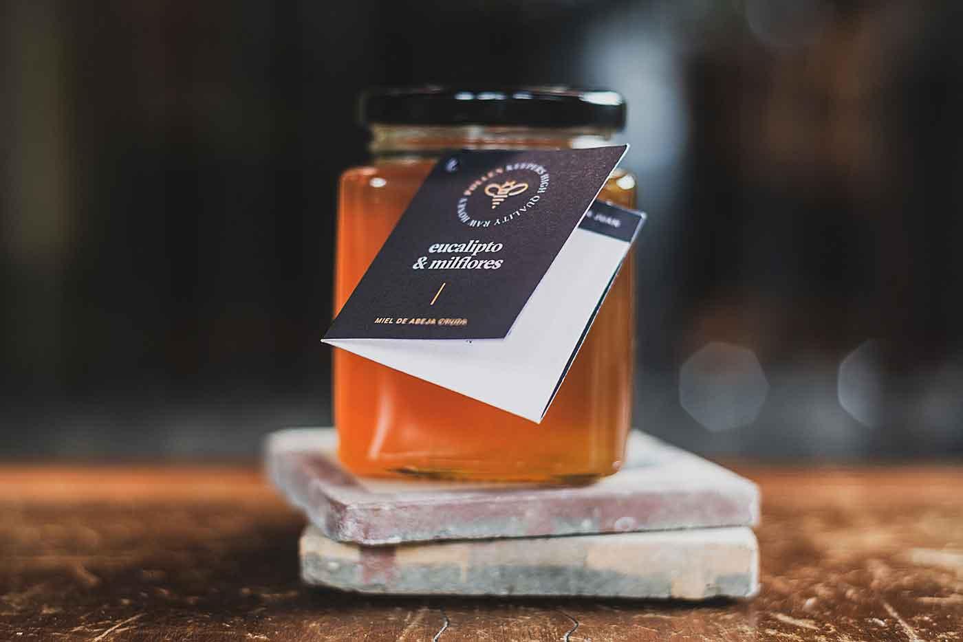 Raw honey jar with label